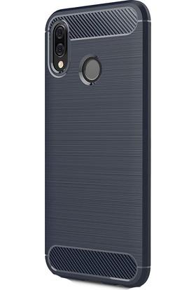 HappyShop Huawei P20 Lite Kılıf Ultra Koruma Room Silikon + Cam Ekran Koruyucu - Lacivert