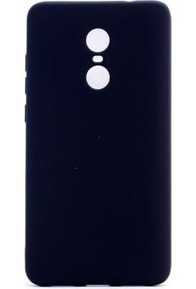 HappyShop Xiaomi Redmi 5 Plus Kılıf Ultra İnce Mat Silikon + Cam Ekran Koruyucu - Siyah