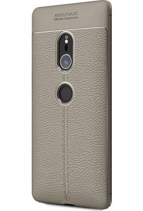 HappyShop Sony Xperia XZ2 Kılıf Deri Desenli Lux Niss Silikon + Cam Ekran Koruyucu - Gri