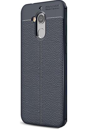 HappyShop General Mobile GM 8 Kılıf Deri Desenli Lux Niss Silikon + Cam Ekran Koruyucu - Lacivert