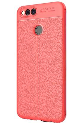 HappyShop Honor 7X Kılıf Deri Desenli Lux Niss Silikon + Cam Ekran Koruyucu - Kırmızı
