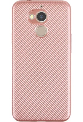 HappyShop General Mobile GM 8 Kılıf Karbon Desenli Silikon + Nano Cam Ekran Koruyucu - Rose Gold