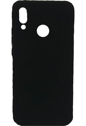 HappyShop Huawei P20 Lite Kılıf Ultra İnce Mat Silikon + Nano Cam Ekran Koruyucu - Siyah
