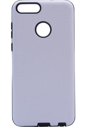 HappyShop Huawei P Smart Kılıf Ultra Korumalı New Youyou Silikon + Cam Ekran Koruyucu - Gri