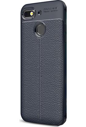 HappyShop General Mobile GM 8 Go Kılıf Deri Desenli Lux Niss Silikon + Cam Ekran Koruyucu - Lacivert