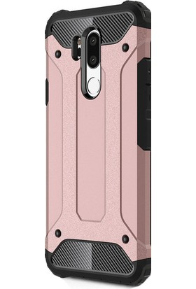 HappyShop LG G7 Kılıf Çift Katmanlı Armour Case + Nano Cam Ekran Koruyucu - Rose Gold