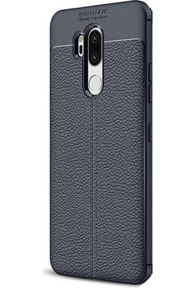 HappyShop LG G7 Kılıf Deri Desenli Lux Niss Silikon + Nano Cam Ekran Koruyucu - Lacivert