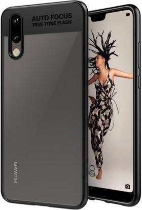 HappyShop Huawei P20 Lite Kılıf Silikon Kenarlı Button Kapak + Nano Cam Ekran Koruyucu - Siyah