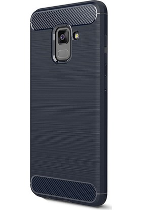 HappyShop Samsung Galaxy A8 2018 Kılıf Ultra Korumalı Room Silikon + Cam Ekran Koruyucu - Lacivert