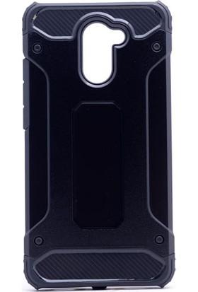 HappyShop Huwei Y7 Kılıf Ultra Korumalı Çift Katmanlı Armour Case + Cam Ekran Koruyucu - Siyah