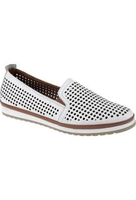 Shalin Deri Kadın Ayakkabı - Tn 8107 Beyaz