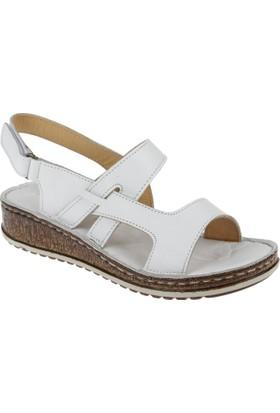 Shalin Deri Kadın Sandalet - Çyb 1388 Beyaz