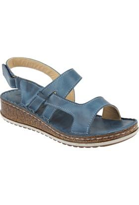 Shalin Deri Kadın Sandalet - Çyb 1388 Mavi