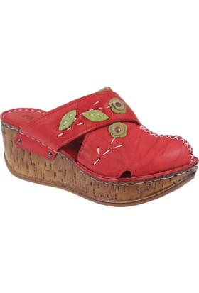 Shalin Deri Kadın Terlik - Çyb 1420 Kırmızı