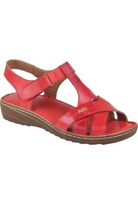 Shalin Deri Kadın Sandalet - Hnz 1202 Kırmızı