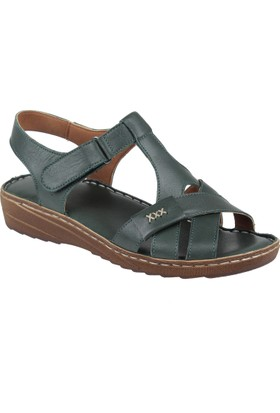 Shalin Deri Kadın Sandalet - Hnz 1202 Yeşil