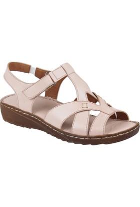 Shalin Deri Kadın Sandalet - Hnz 1209 Pudra