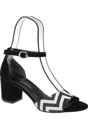 Shalin Kadın Sandalet - Hsk 256 Siyah Beyaz