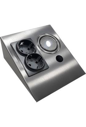 Espar Dolap Tezgah Altı Paslanmaz Metal (İnox)Led Aydınlatmalı Priz