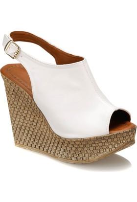 Butigo Benri*01Z Beyaz Kadın Dolgu Topuk Ayakkabı