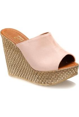 Butigo City*04Z Pudra Kadın Dolgu Topuk Ayakkabı