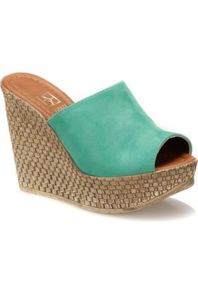 Butigo City*21Y Su Yeşili Kadın Dolgu Topuk Ayakkabı