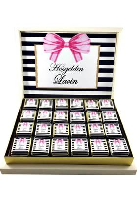 Gondol Çikolata Fiyonklu Bebek Çikolatası (100 Adet Madlen Çikolata Ve Sunum Kutusu)