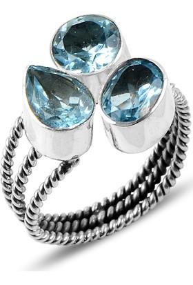 Sanal Kuyumculuk 925 Ayar Gümüş Blue Topaz Taş Yüzük