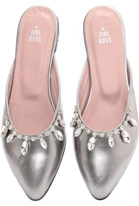 Girl Boss New York Paris Gümüş Deri Terlik