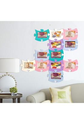 Binbirreyon Puzzle Duvar Fotoğraf Çerçevesi 12'li Set Renkli 23 x 18 cm MC062
