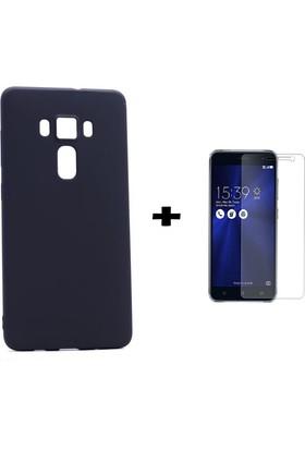 Case 4U Asus Zenfone 3 Kılıf ZE552KL Kılıf Premier İnce Silikon Siyah + Cam Ekran Koruyucu