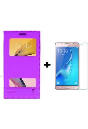Case 4U Samsung Galaxy J7 Prime Kılıf Pencereli Mor + Cam Ekran Koruyucu