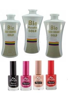 Bio Keratin Gold Kalıcı Brezilya Fönü 3'lü Set 700 ml + Pacific Oje