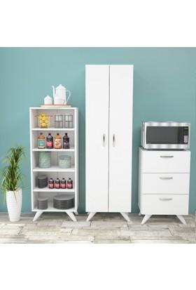 Yurudesign Alpha125 Çok Amaçlı Mutfak Banyo Dolabı 3lü Set Ayaklı
