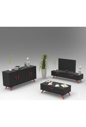Yurudesign Colour Tv Ünitesi, Konsol, Orta Sehpa, Dolap 3'Lü Set Siyah-Kırmızı