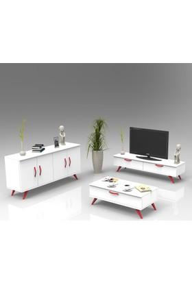 Yurudesign Colour Tv Ünitesi, Konsol, Orta Sehpa, Dolap 3'Lü Set Beyaz-Kırmızı