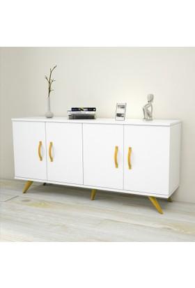 Yurudesign Colour Konsol 4 Kapaklı Beyaz Gövde Sarı