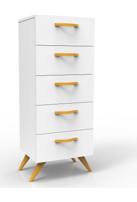 Yurudesign Colour5 Çekmeceli Komodin Şifonyer Beyaz Gövde Sarı
