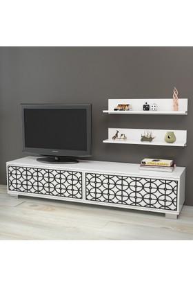 Yurudesign Premium Tv Ünitesi No:1 Cnc Lazer Kesim Raflı Siyah