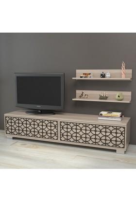 Yurudesign Premium Tv Ünitesi No:2 Cnc Lazer Kesim Raflı Siyah