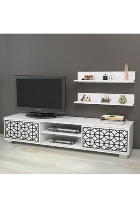 Yurudesign Premium Tv Ünitesi No:3 Cnc Lazer Kesim Raflı Siyah