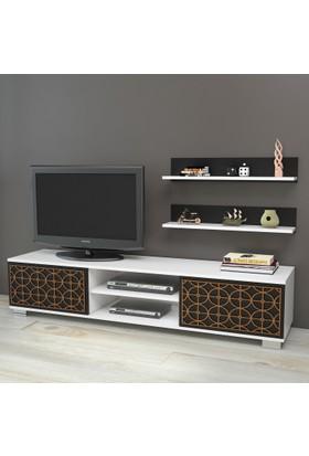 Yurudesign Premium Tv Ünitesi No:4 Cnc Lazer Kesim Raflı Beyaz-Siyah