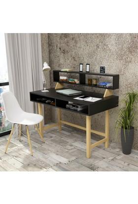 Yurudesign Masif A9 Çalışma Masası Raflı Retro 60cm Derinlik Siyah