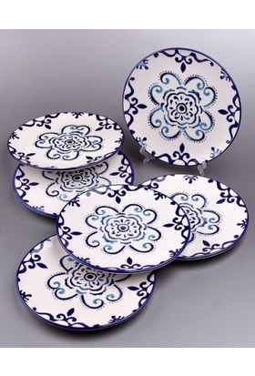 Drc Mavi Desenli 6'Lı Pasta Tabağı