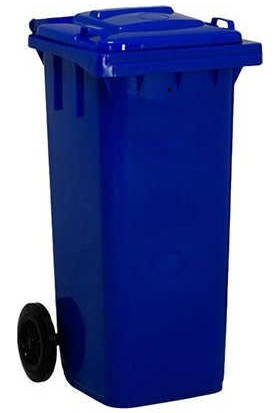 Çöp Konteyneri 110 lt Tekerlekli A+ Kalite Isiya Karşı Dayanıklı - Mavi Çöp Kovası - Mavi Konteyner