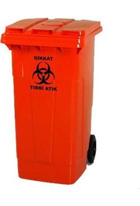Plastik Tıbbi Atık Çöp Konteyneri 110 lt A+ Kalite Isıya Dayanıklı Tıbbi Atık Kovası