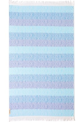 Begonville Jakarlı Pamuk Peştemal Waves Terry / Blue
