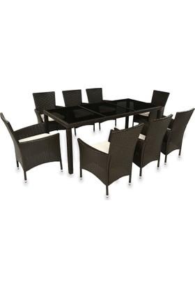 Hepsiburada Home Siyah Cam Koyu Kahve Masa+ 8 Sandalye