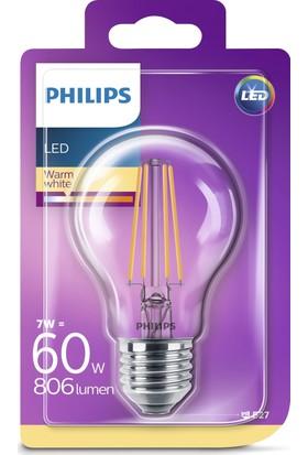 Philips LED Filament 60W E27 Normal Duy Sarı Işık