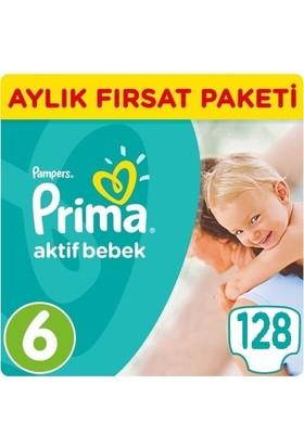 Prima Bebek Bezi Aktif Bebek 6 Beden Ekstra Large Aylık Fırsat Paketi Paket 128 Adet